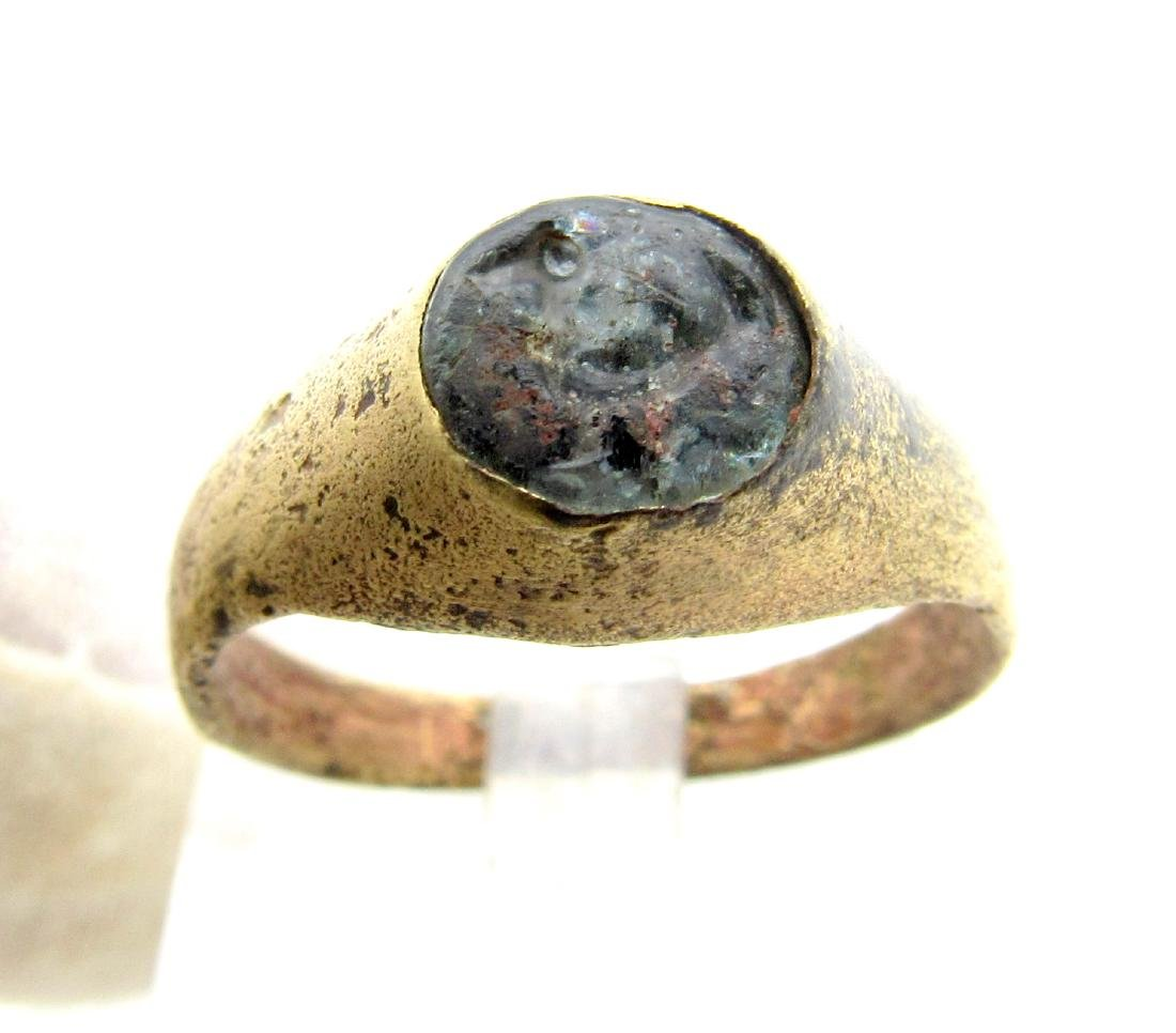Medieval Viking Ring with Bird Engraved on White - 2