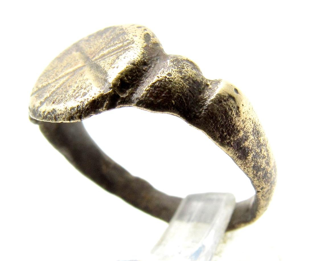 "Ancient Roman Legionary Ring with an ""X"" on the Bezel - 2"