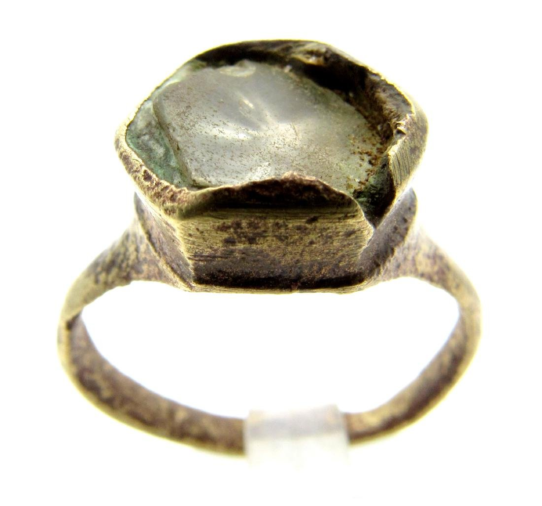 Medieval Crusaders Ring with Glass in the Bezel