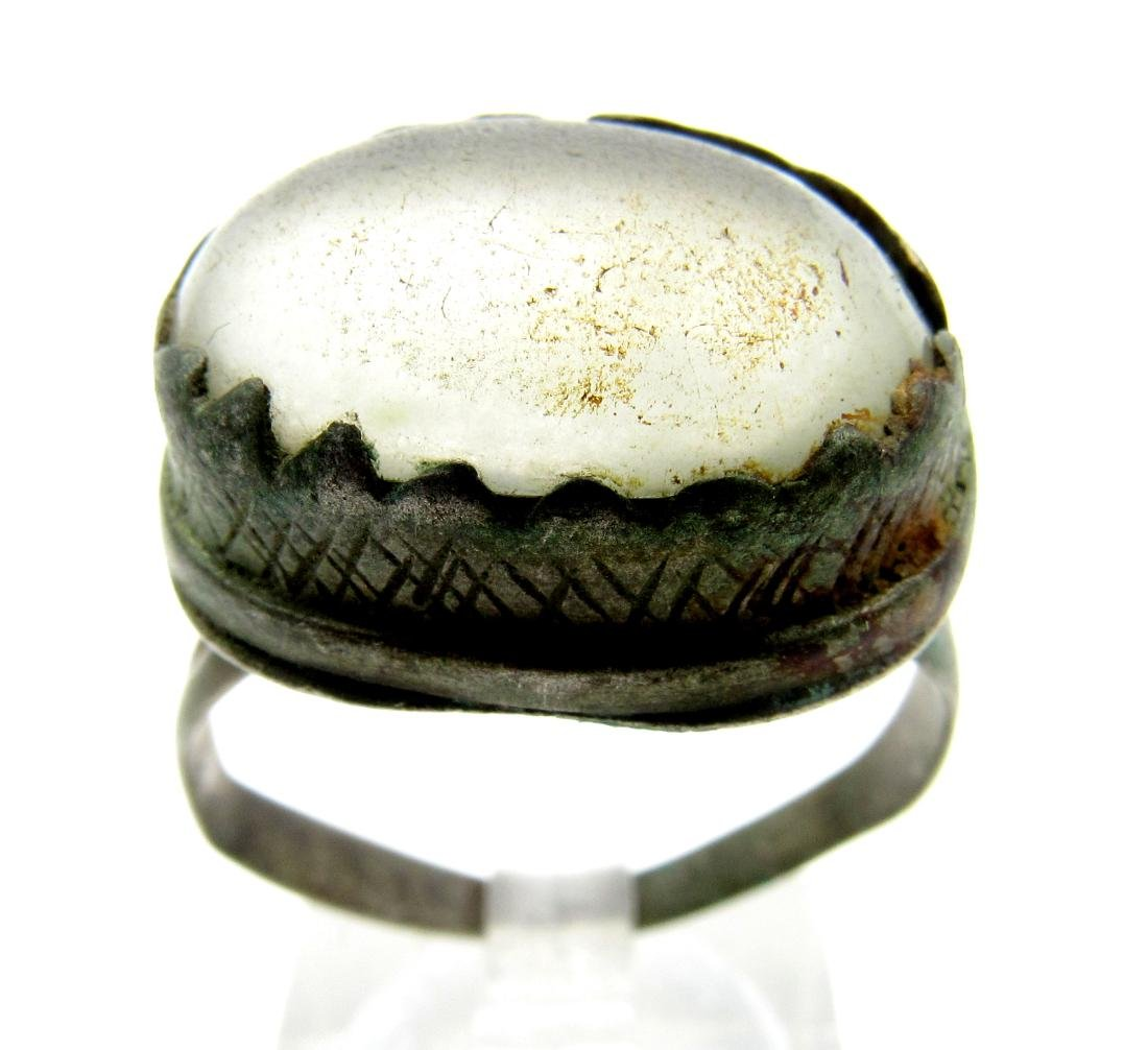 Late Medieval Silver Tudor Ring with Large White Stone
