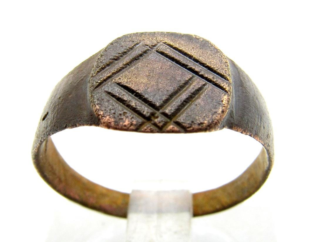 Medieval Viking Ring with Decorated Bezel