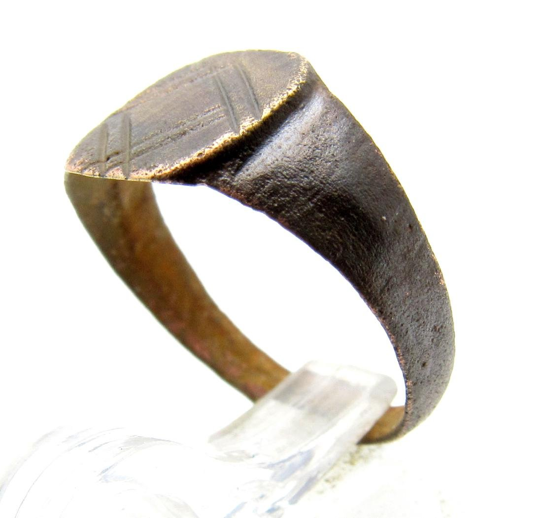 Medieval Viking Ring with Decorated Bezel - 2