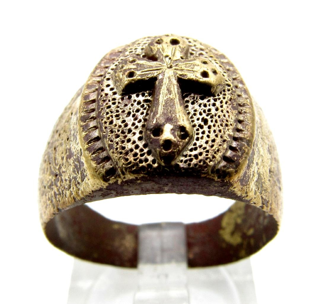 Medieval Crusaders Knights Templar Ring with 3 Crosses