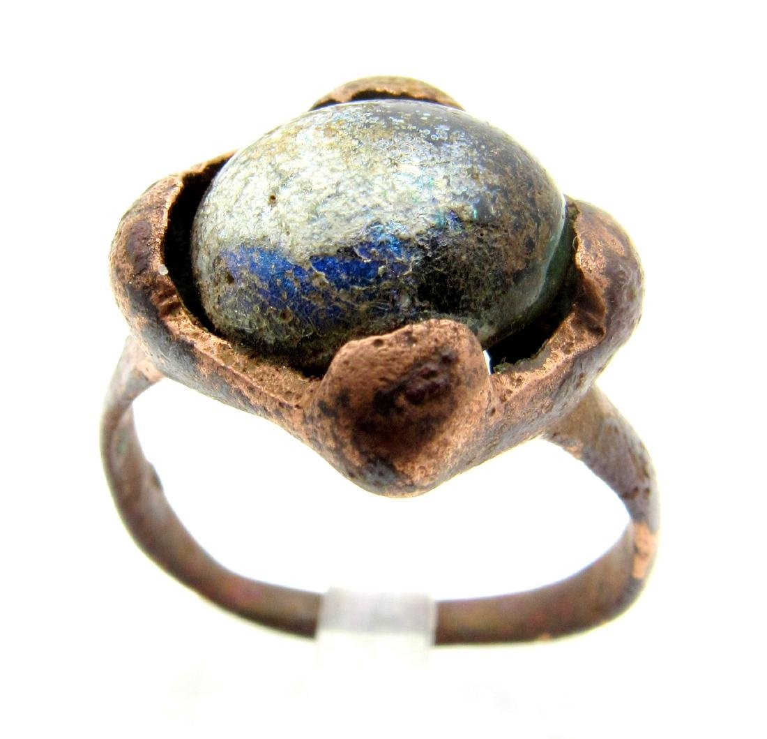 Medieval Viking Ring with Dark Blue Stone