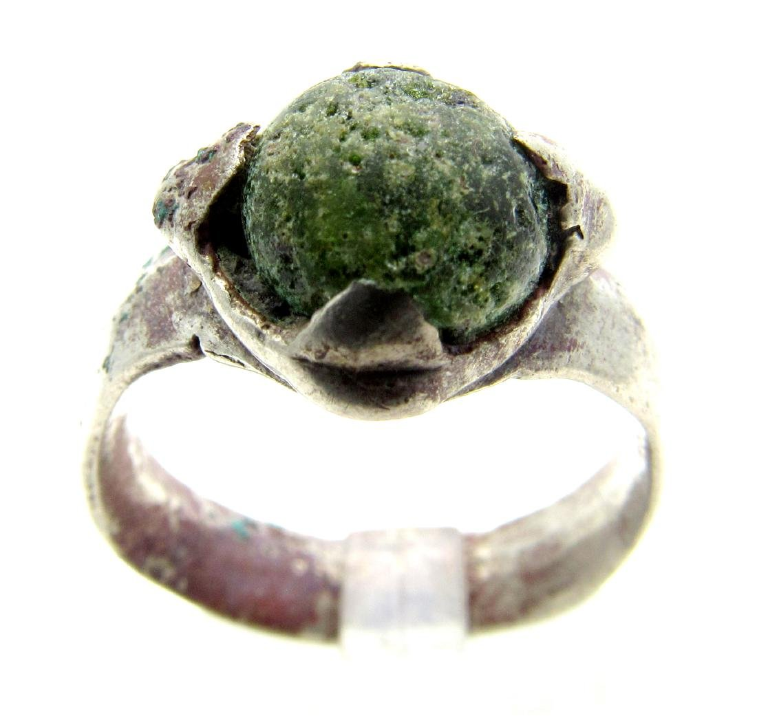 Medieval Silver Viking Ring with a Green Stone
