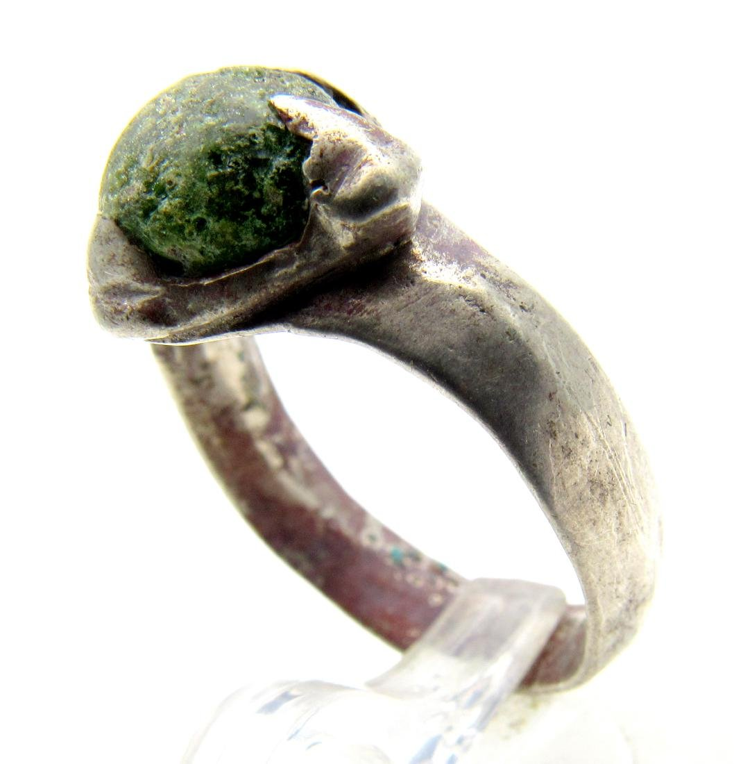 Medieval Silver Viking Ring with a Green Stone - 2