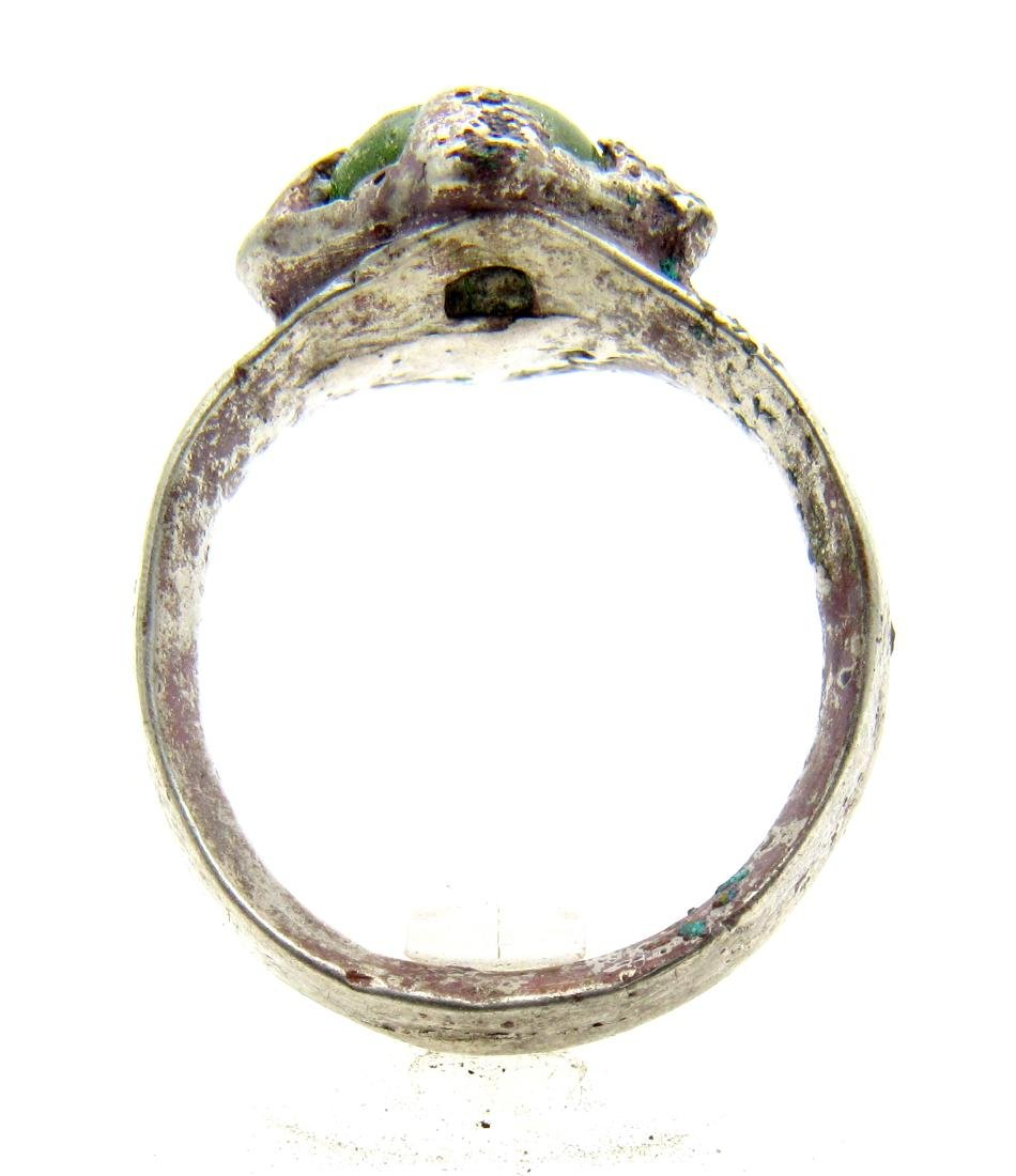 Medieval Silver Viking Ring with a Green Stone - 3