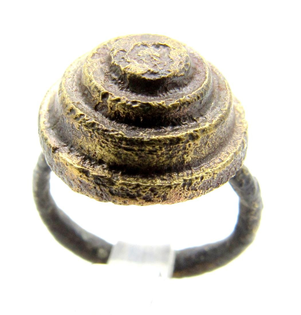 Ancient Roman Ring with Helmet Shaped Bezel
