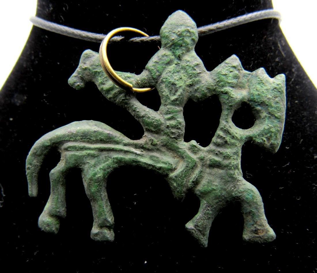 Medieval Viking Warrior on Horseback Pendant