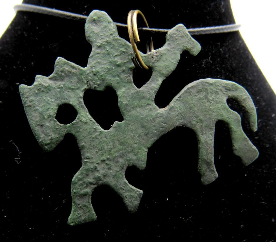 Medieval Viking Warrior on Horseback Pendant - 2