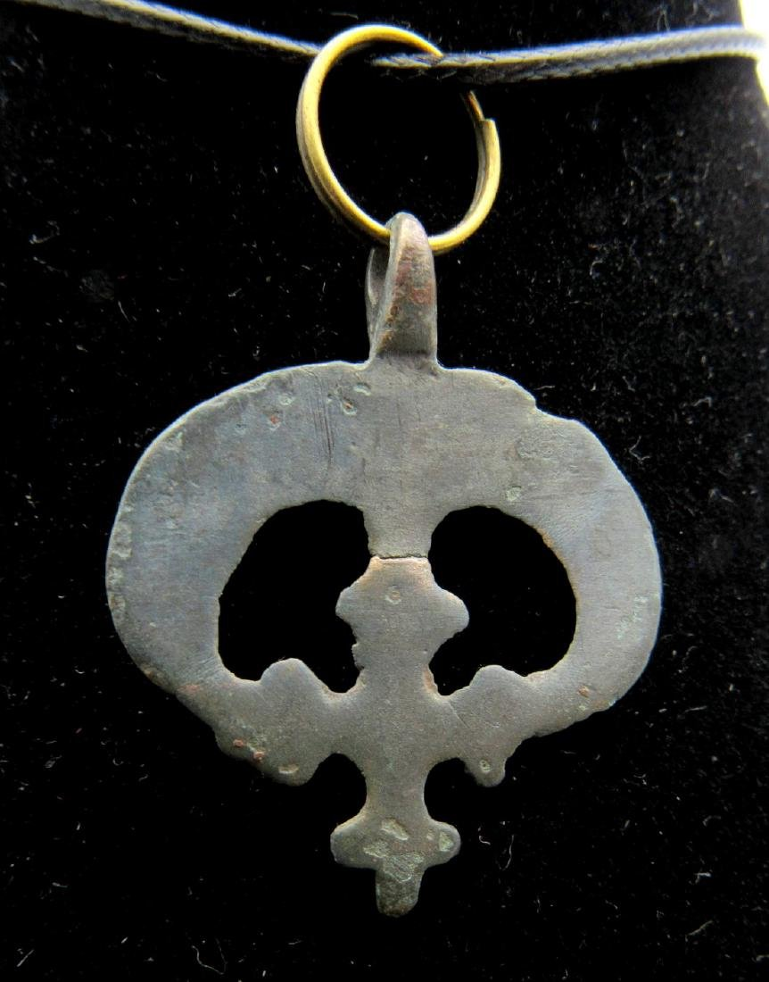 Medieval Viking Lunar Pendant with Cross - 2