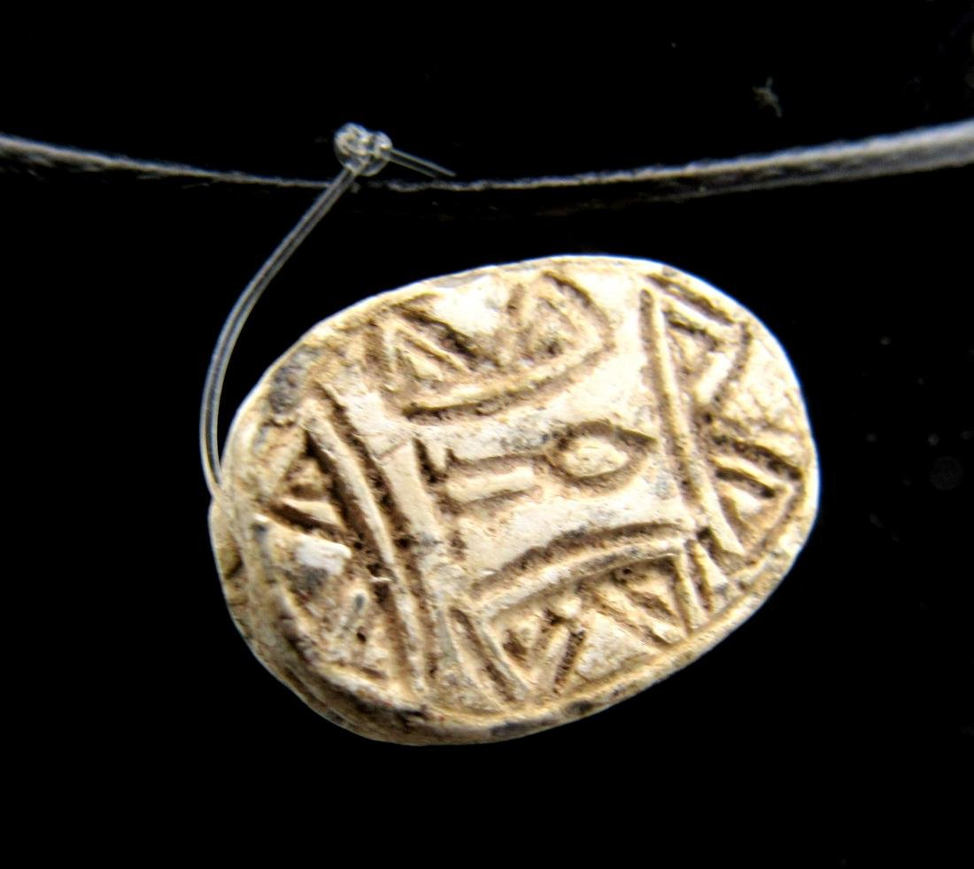 Ancient Egyptian Engraved Scarab Pendant with Symbols