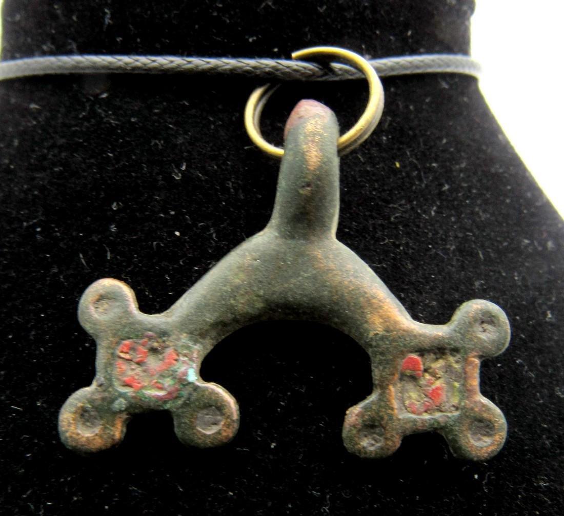 Medieval Viking Lunar Pendant with Enamel