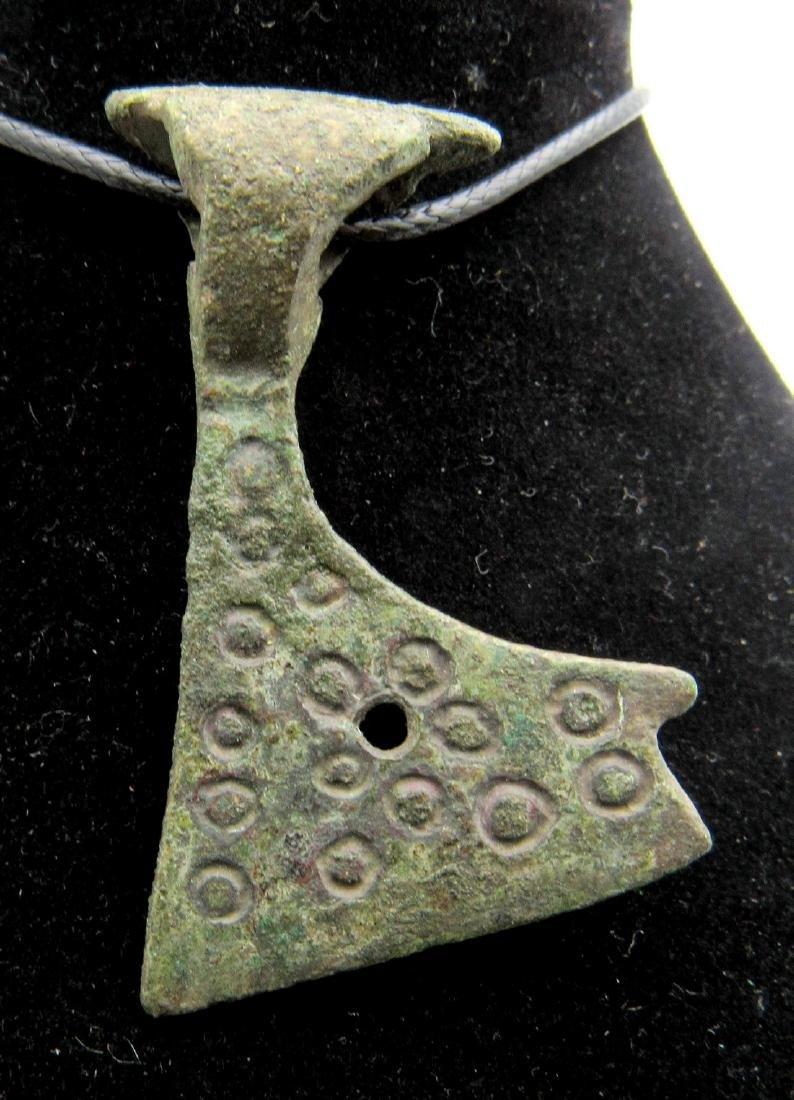 Medieval Viking Bearded Axe Pendant with Evil's Eye - 2