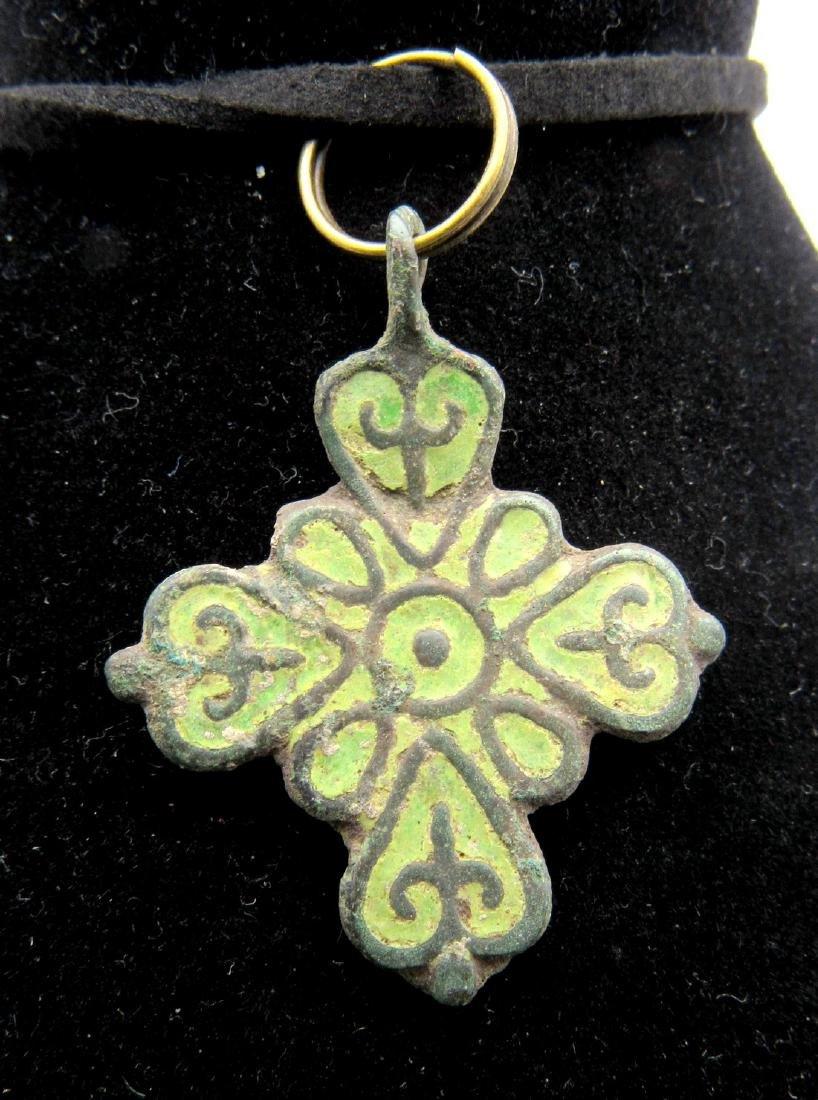 Medieval Viking Enameled Cross Pendant
