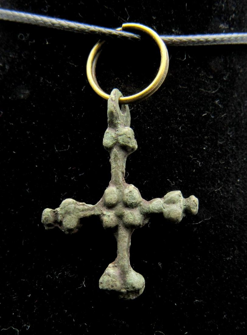 Medieval Viking Cross Pendant with Snake Terminals - 2