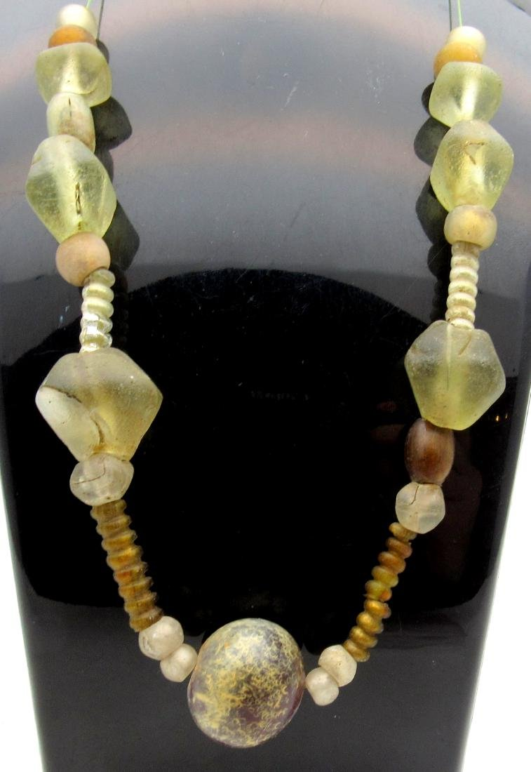 Medieval Viking Glass & Stone Beaded Necklace