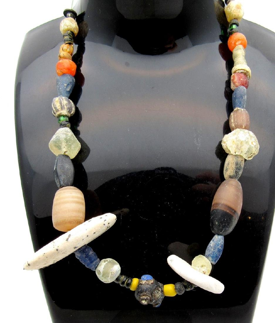 Medieval Viking Glass, Stone & Shell Beaded Necklace