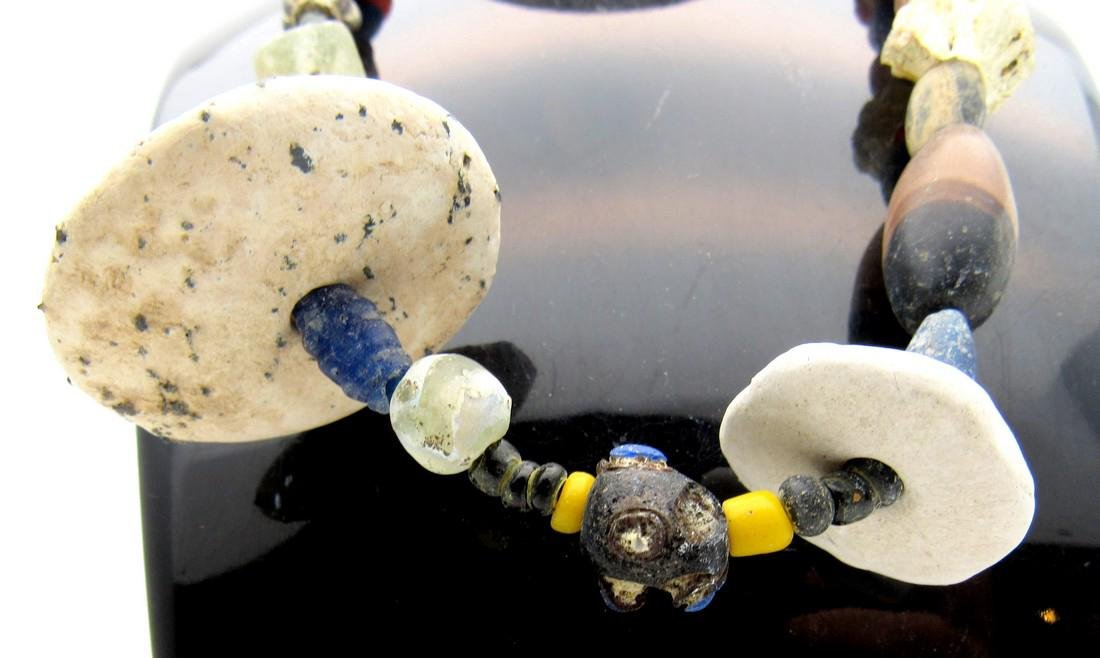Medieval Viking Glass, Stone & Shell Beaded Necklace - 2