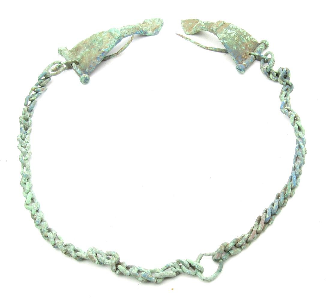 Ancient Roman Bow Brooches Attached by Chain for Togas