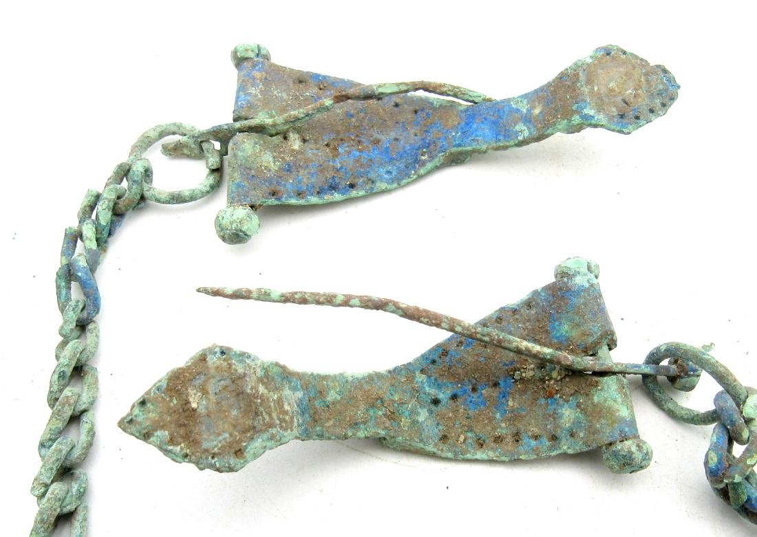 Ancient Roman Bow Brooches Attached by Chain for Togas - 4