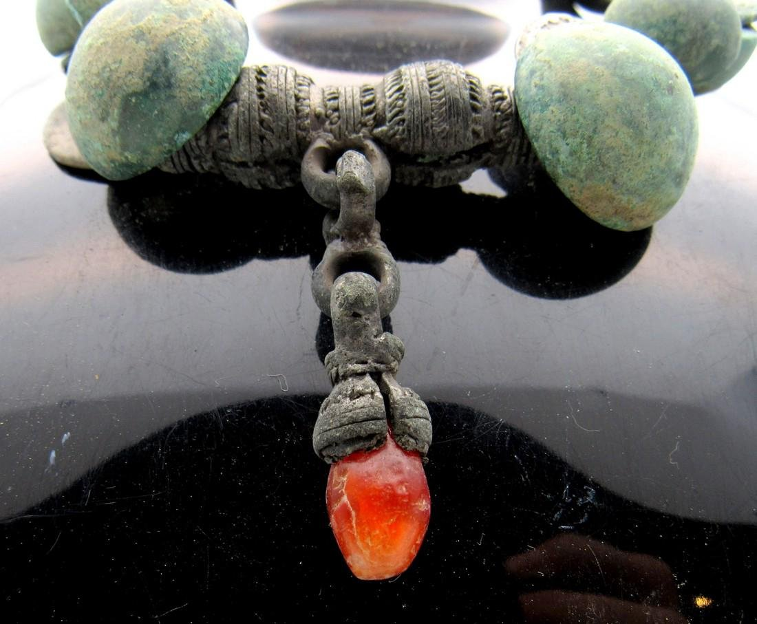 Ancient Celtic Druid Bronze Beaded Necklace with Amber - 2