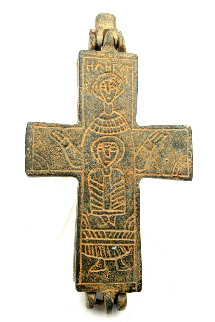 Medieval Crusaders Reliquary Cross, Mother Mary & Jesus