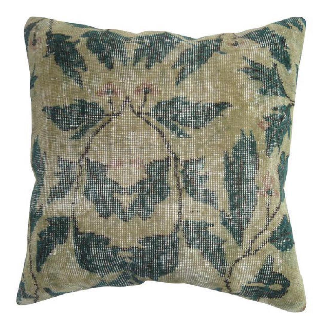 Shabby Chic Green Rug Pillow 1.6x1.6