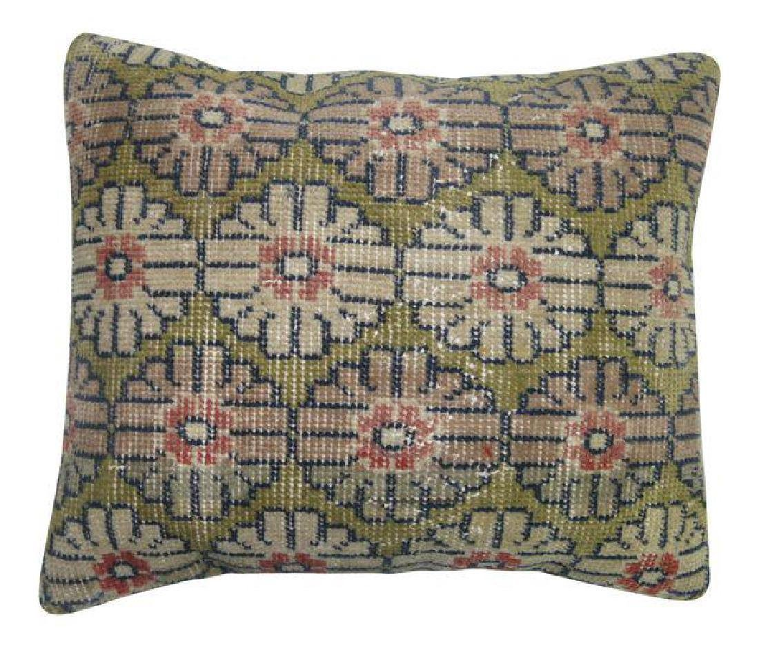Green Turkish Rug Pillow 1.8x1.5