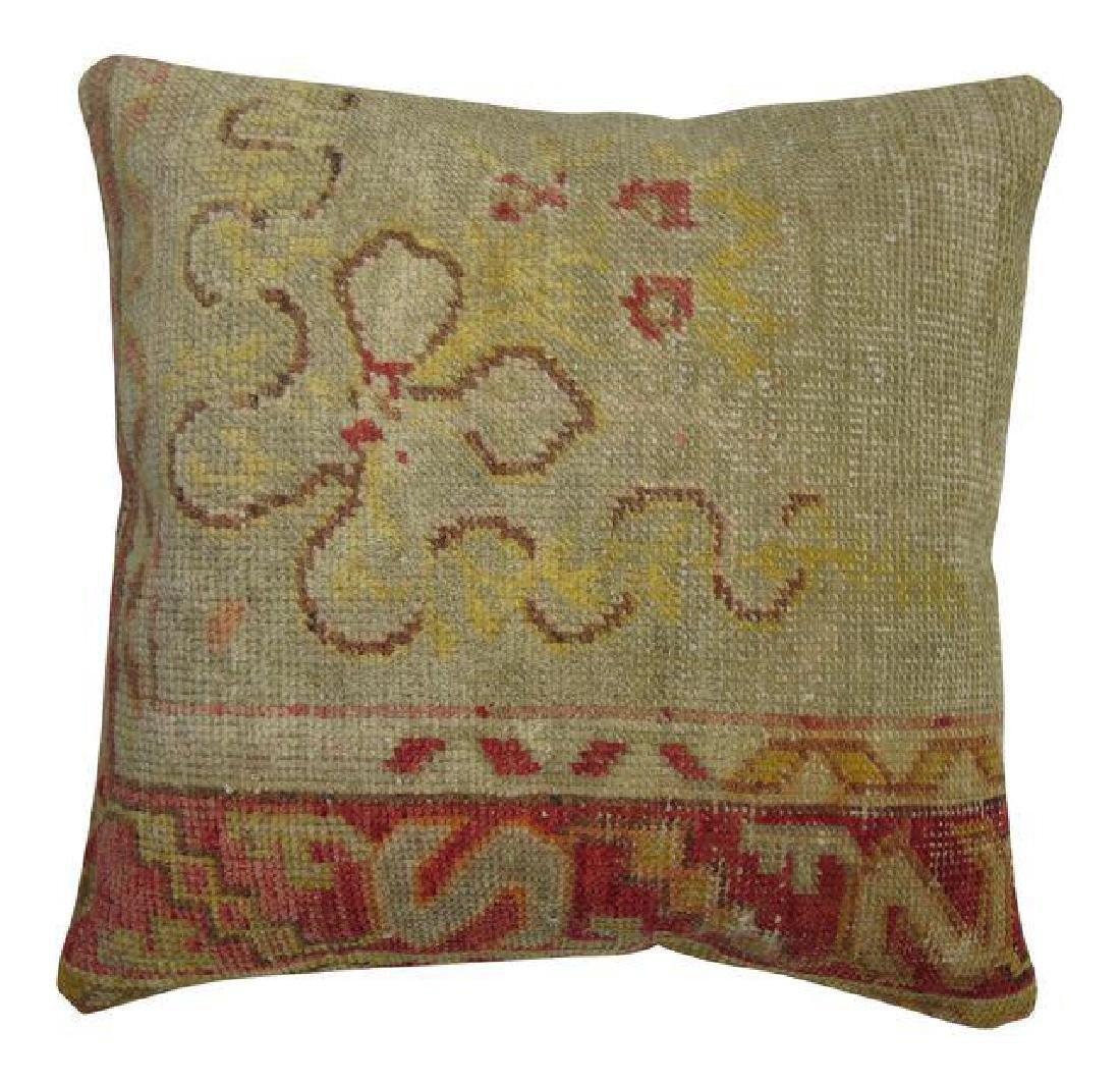 Vintage Turkish Oushak Rug Pillow 1.5x1.6