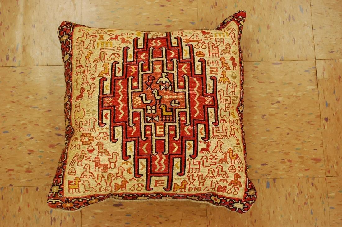 Highly Detailed Silk Sumak Kilim Rug Pillow 1.5x1.5