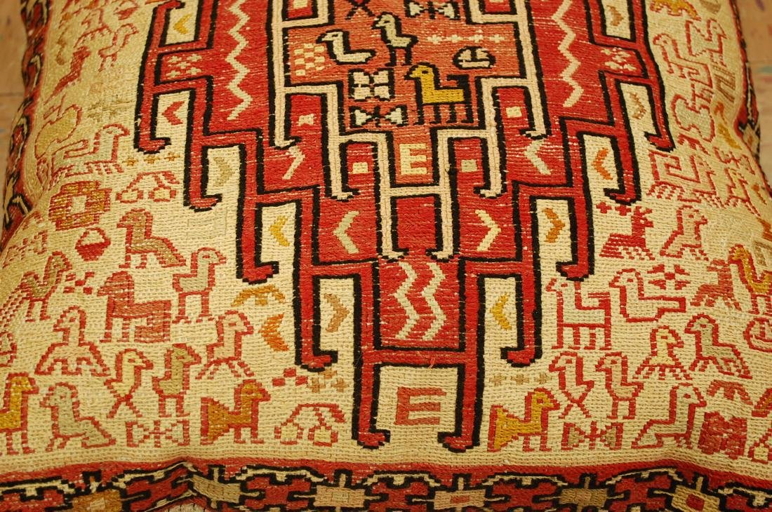 Highly Detailed Silk Sumak Kilim Rug Pillow 1.5x1.5 - 3