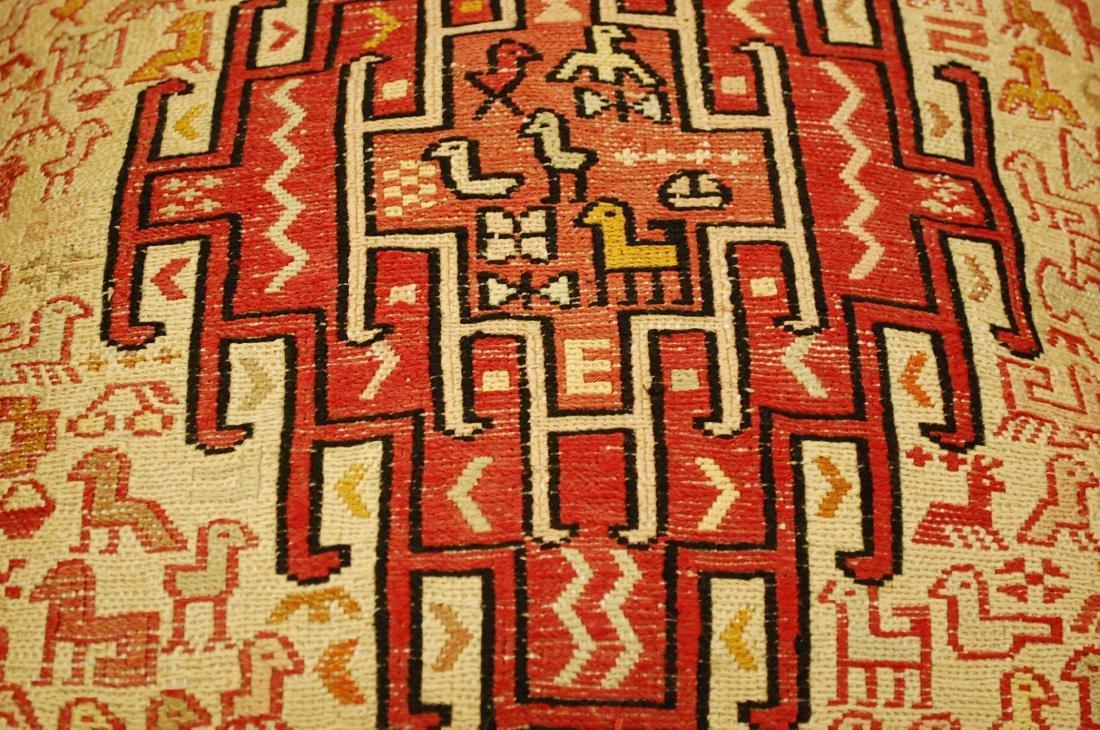 Highly Detailed Silk Sumak Kilim Rug Pillow 1.5x1.5 - 4