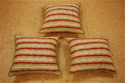 Three Highly Detailed Antique Kilim Rug Pillows 1.5x1.5