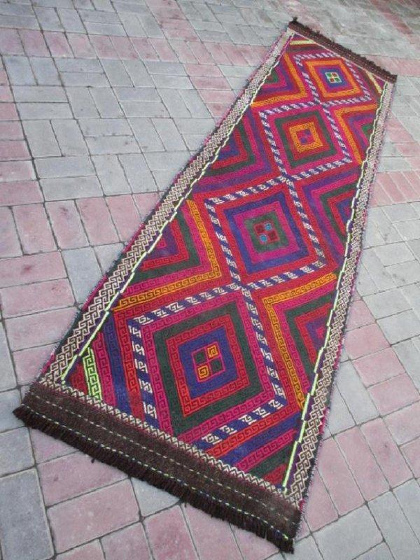 Hand made Suzni Wool Runner Rug 2.6x9.1