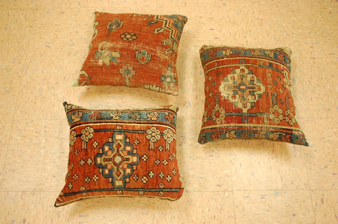 Three Highly Detailed Fine Antique Rug Pillows 1x1.5