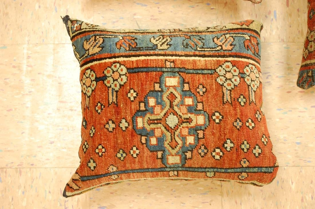 Three Highly Detailed Fine Antique Rug Pillows 1x1.5 - 2