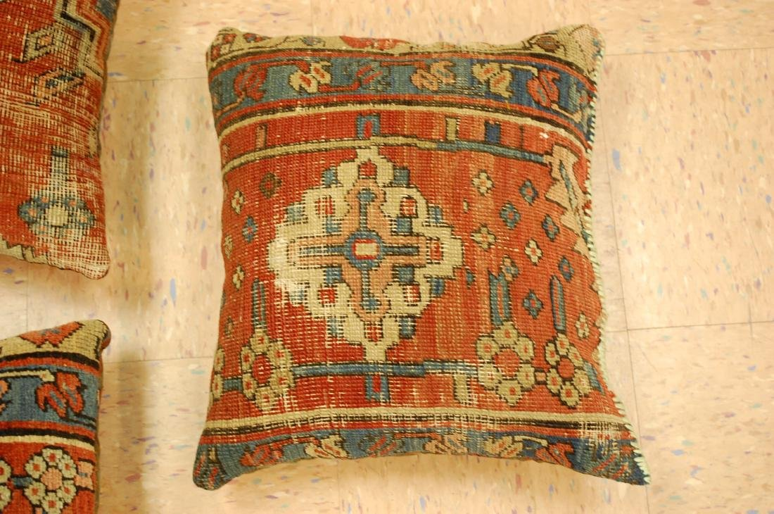 Three Highly Detailed Fine Antique Rug Pillows 1x1.5 - 3