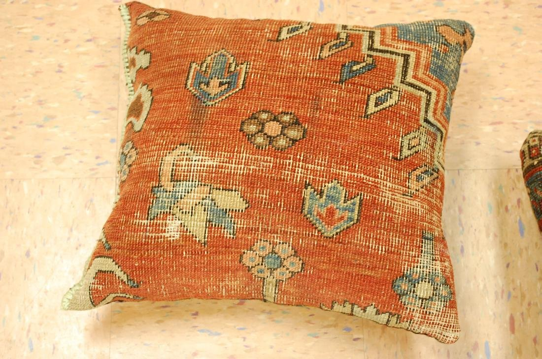 Three Highly Detailed Fine Antique Rug Pillows 1x1.5 - 4