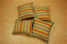 Four Detailed Fine Antique Kilim Rug Pillows 1.5x1.5