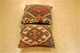 Two Detailed Fine Antique Caucasian Rug Pillows 1.6x1.8
