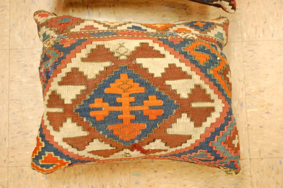 Two Detailed Fine Antique Caucasian Rug Pillows 1.6x1.8 - 2