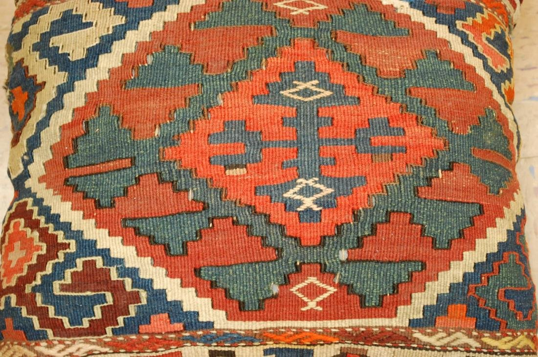 Two Detailed Fine Antique Caucasian Rug Pillows 1.6x1.8 - 4