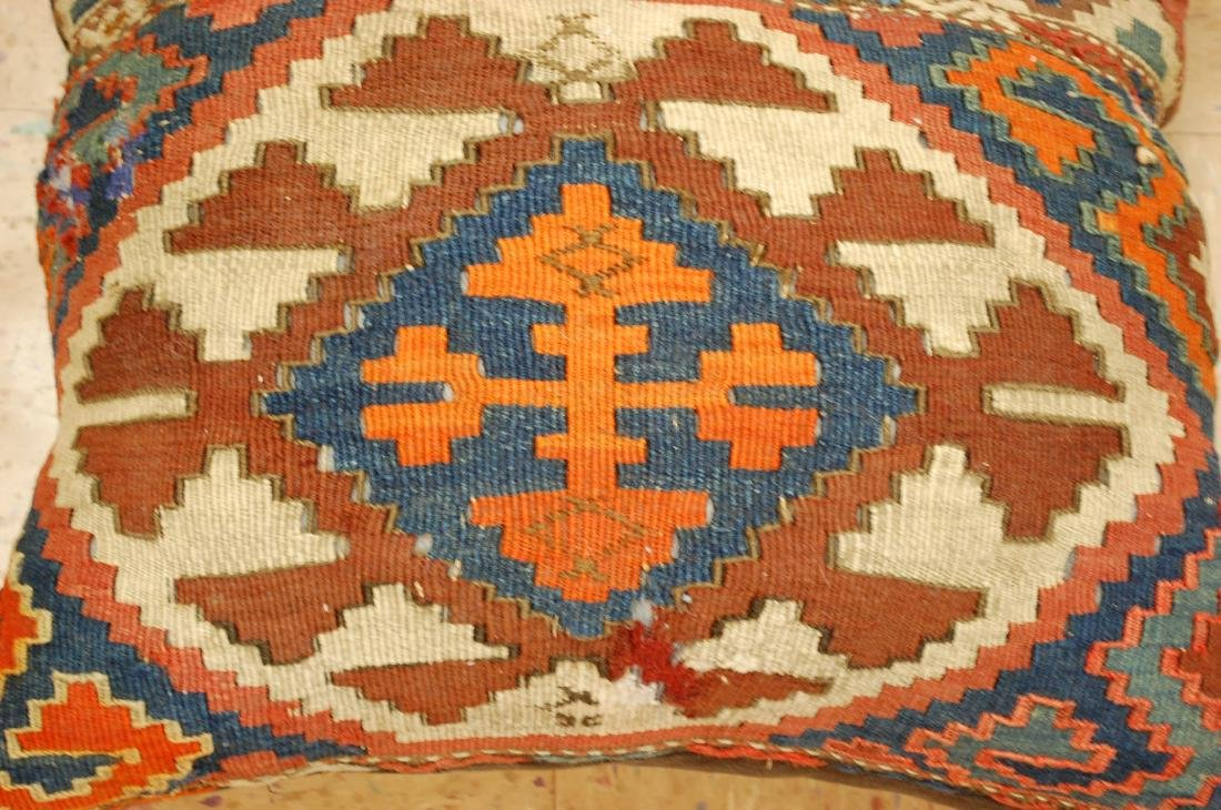 Two Detailed Fine Antique Caucasian Rug Pillows 1.6x1.8 - 5