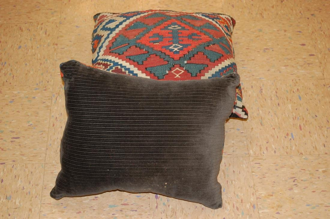 Two Detailed Fine Antique Caucasian Rug Pillows 1.6x1.8 - 6