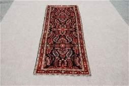 Semi Antique Hand Woven Hamadan Runner Rug 3.6x11.2