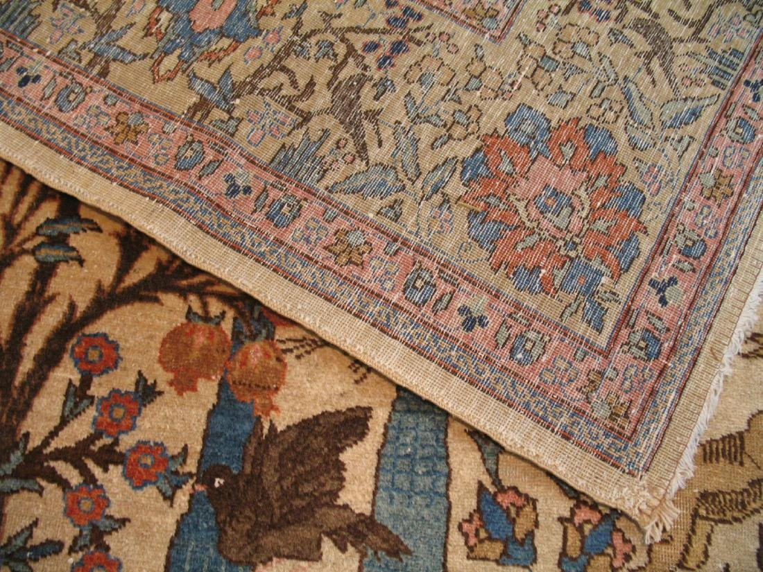 Antique Pictorial Persian Tabriz Kashan Rug 9x11.8 - 10