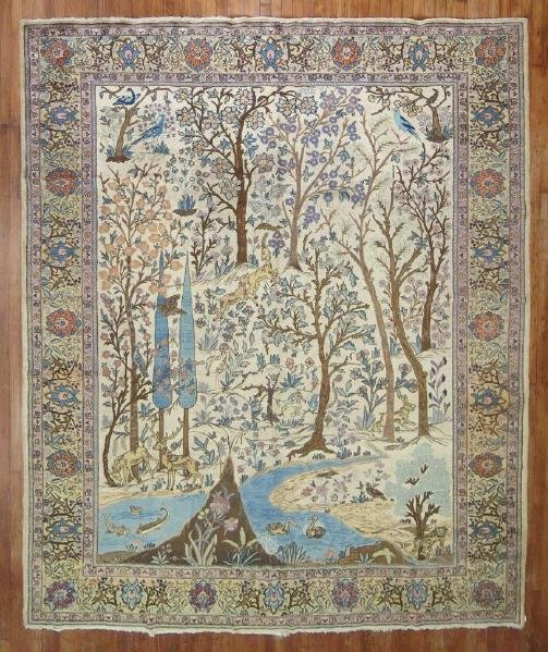 Antique Pictorial Persian Tabriz Kashan Rug 9x11.8