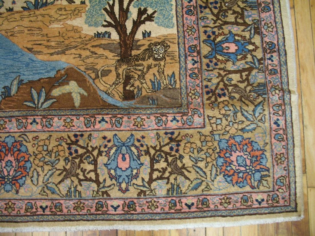 Antique Pictorial Persian Tabriz Kashan Rug 9x11.8 - 9
