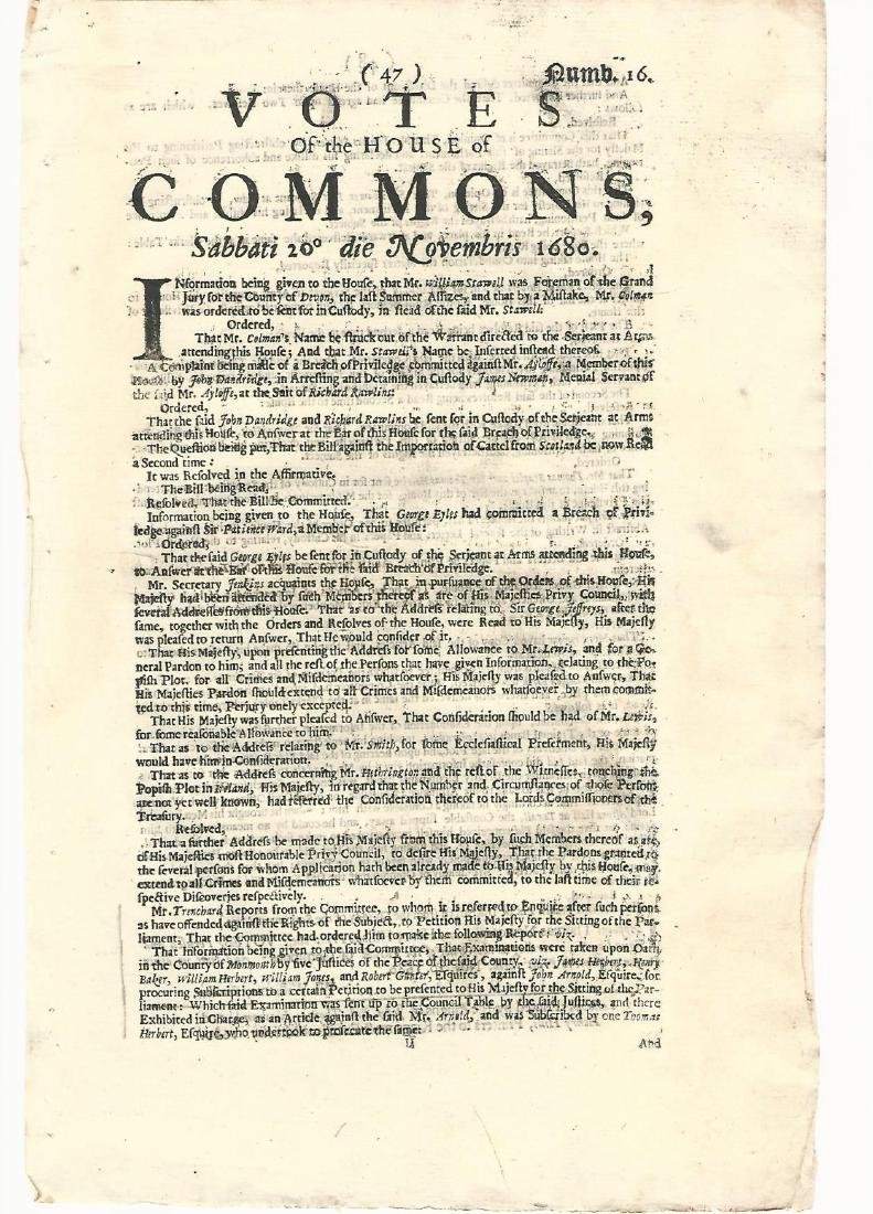 1680 Newspaper Plot to Overthrow King Charles II